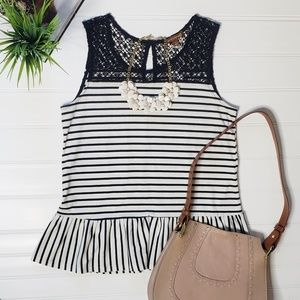 Sleeveless Peplum Stripe Top